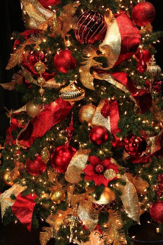Deco oro rosse su albero verde