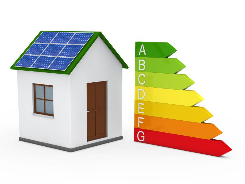 3d house solar energy bar red green